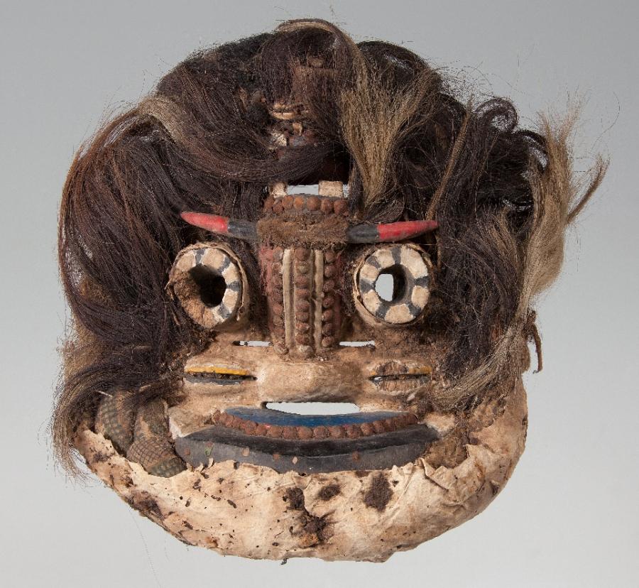 Masque Wé, Côte d'Ivoire, Bois, cheveux, textile, cuir et pigments, musée d'Angoulême