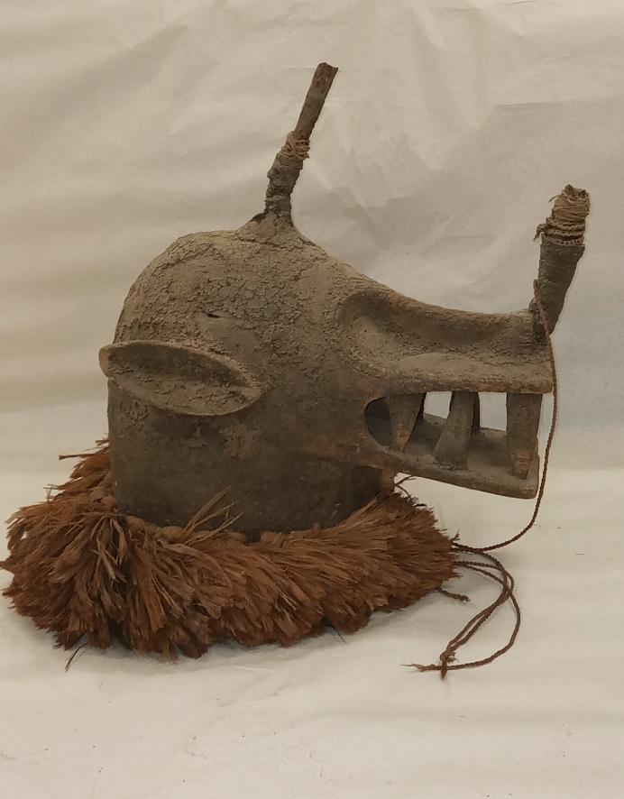 Masque heaume goli glin, Baoulé, Côte d'Ivoire, musée T. Monod, achat à Sylla Almamy en 1956